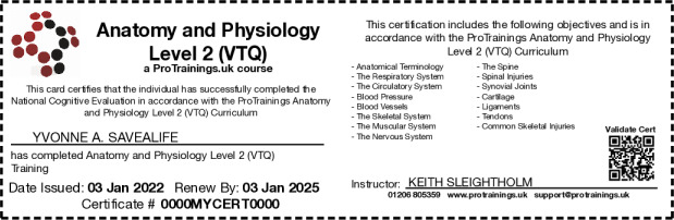 Anatomy and Physiology Hard Copy Card - ProTrainings Health and ...