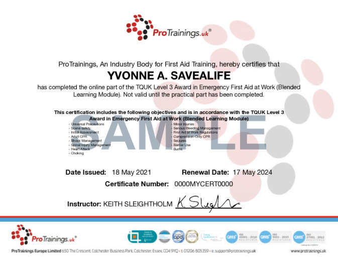 Sample TQUK Level 3 Award in Emergency First Aid at Work (Blended Learning Module) - (EFAW) Wall Certificate