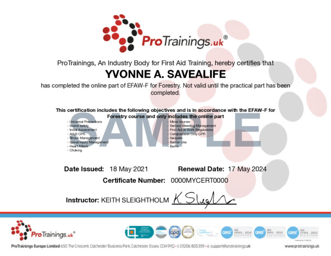 Sample EFAW-F for Forestry Level 3 (VTQ) Wall Certificate
