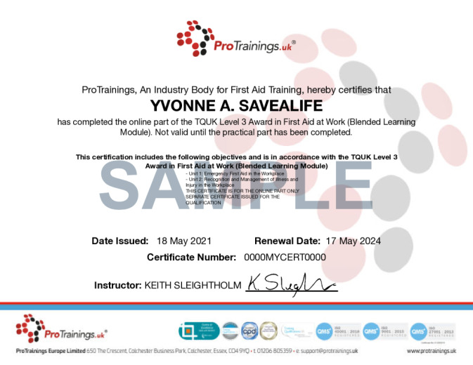 Sample TQUK Level 3 Award in First Aid at Work (Blended Learning Module) - FAW Wall Certificate