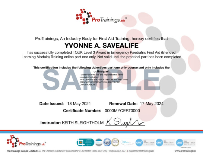 Sample TQUK Level 3 Award in Emergency Paediatric First Aid (Blended Learning Module) - (EPFA) Wall Certificate