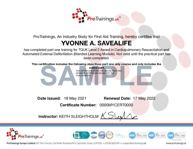 Sample TQUK Level 2 Award in Cardiopulmonary Resuscitation and Automated External Defibrillation (Blended Learning Module) - BLS Wall Certificate