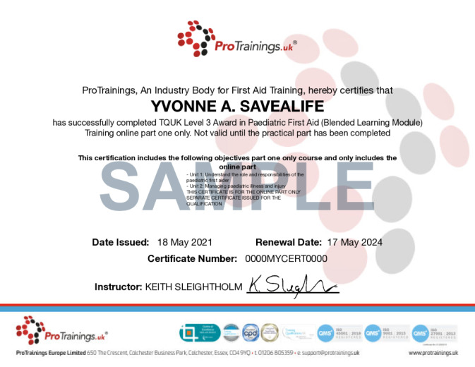 Sample TQUK Level 3 Award in Paediatric First Aid (Blended Learning Module) - (PFA) Wall Certificate