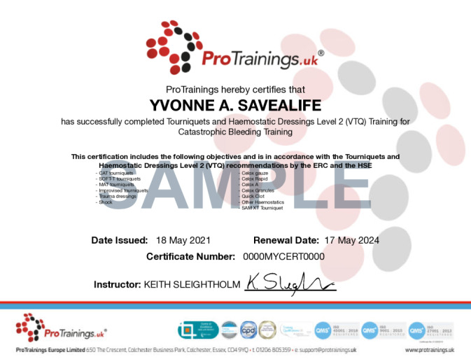Sample Tourniquets and Haemostatic Dressings Online Certificate