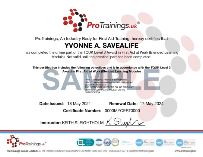 Sample TQUK Level 3 Award in First Aid at Work (RQF) – FAEW Requalification  (Blended Learning Module)  Wall Certificate