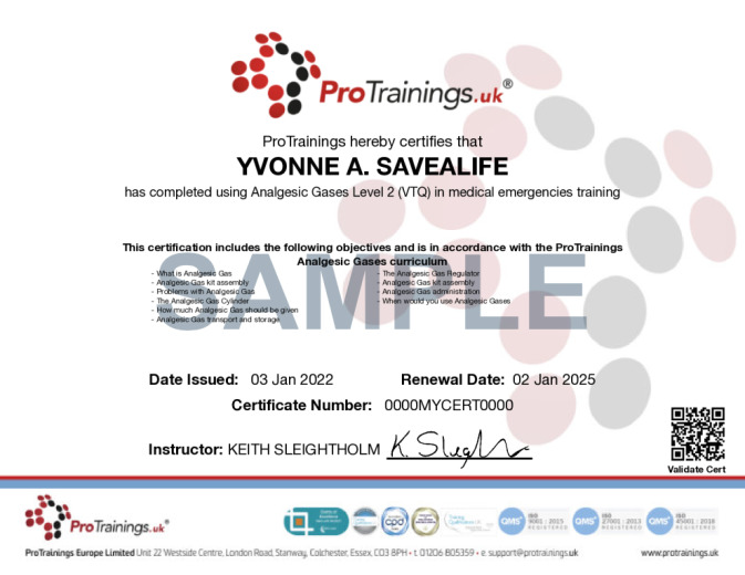 Sample Entonox Awareness Level 2 (VTQ) Wall Certificate