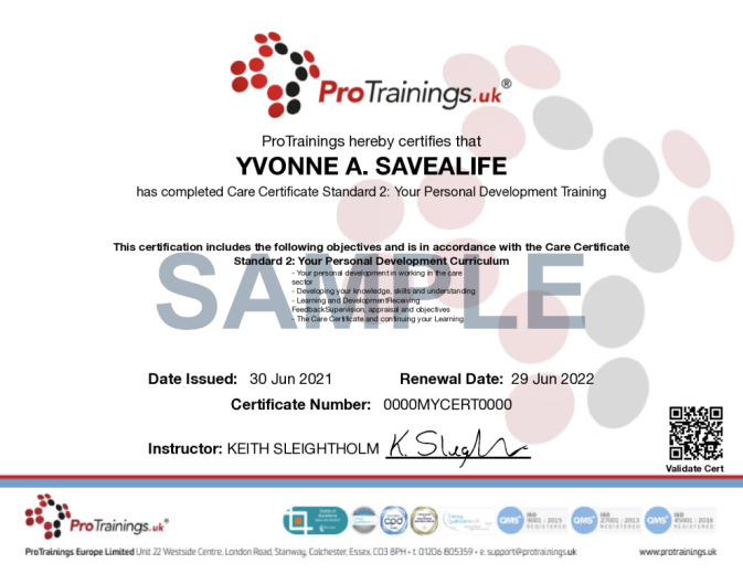 Sample Care Certificate Standard 02: Your Personal Development Online Certificate