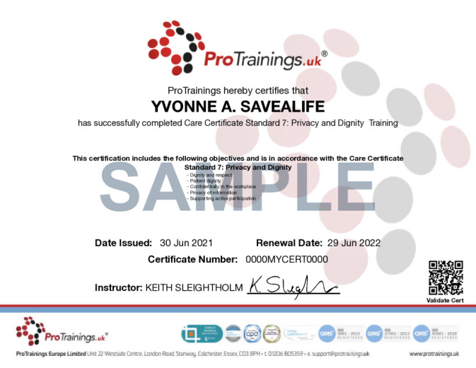 Sample Care Certificate Standard 7: Privacy and Dignity  Online Certificate