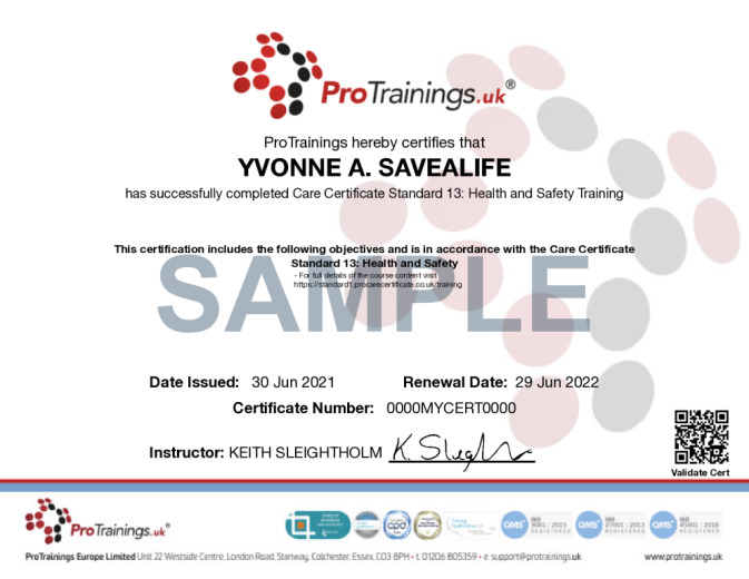 Sample Care Certificate Standard 13: Health and Safety Online Certificate