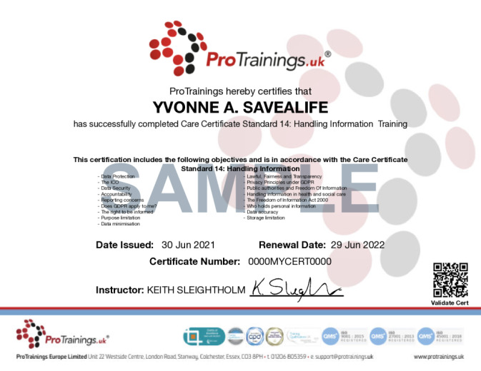 Sample Care Certificate Standard 14: Handling Information  Wall Certificate