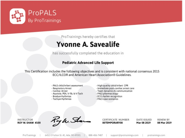 ProPALS Recertification Wall Certificate - ProTrainings Health and ...
