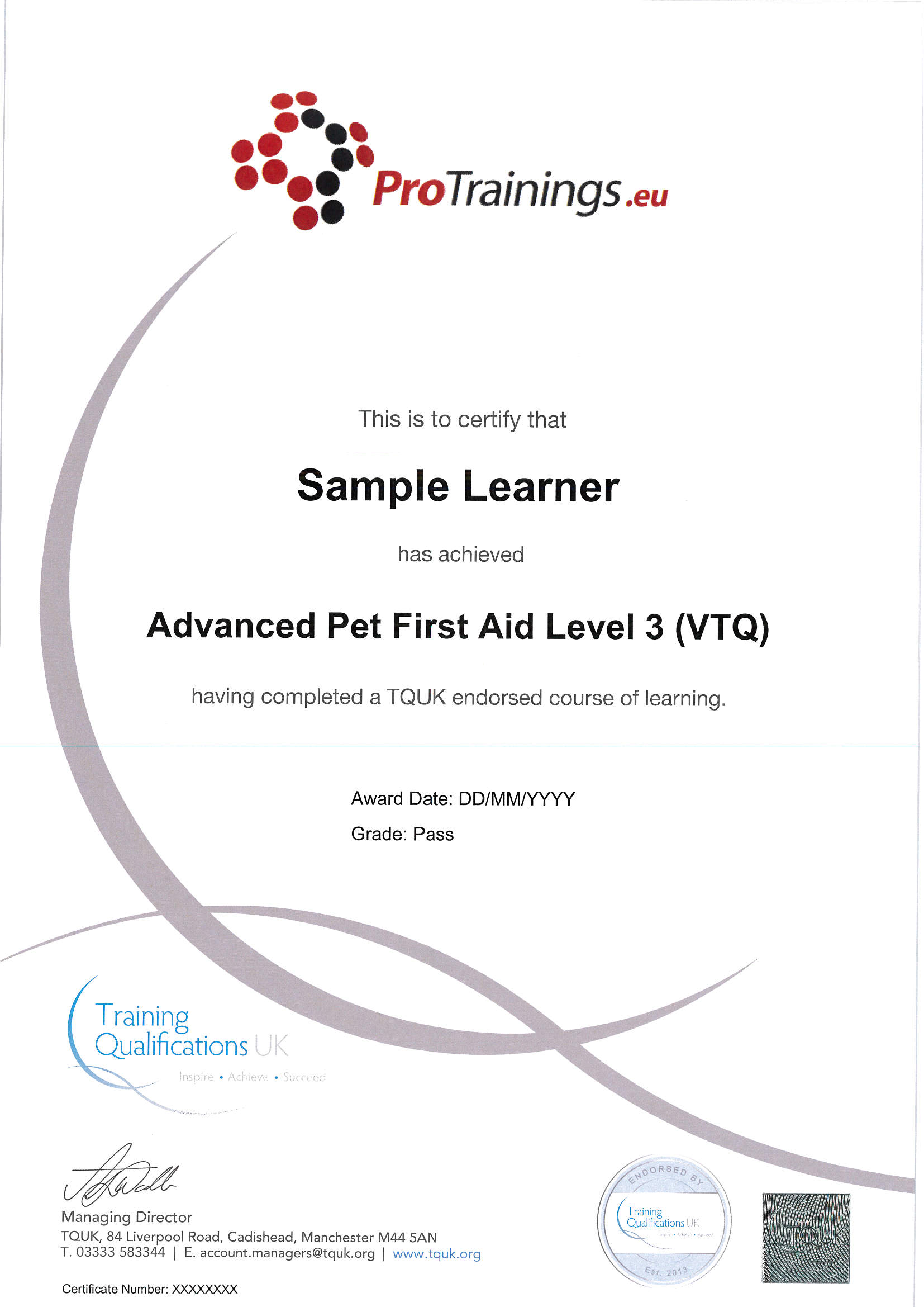 Endorsed Advanced Pet First Aid Certificate From Tquk Protrainings