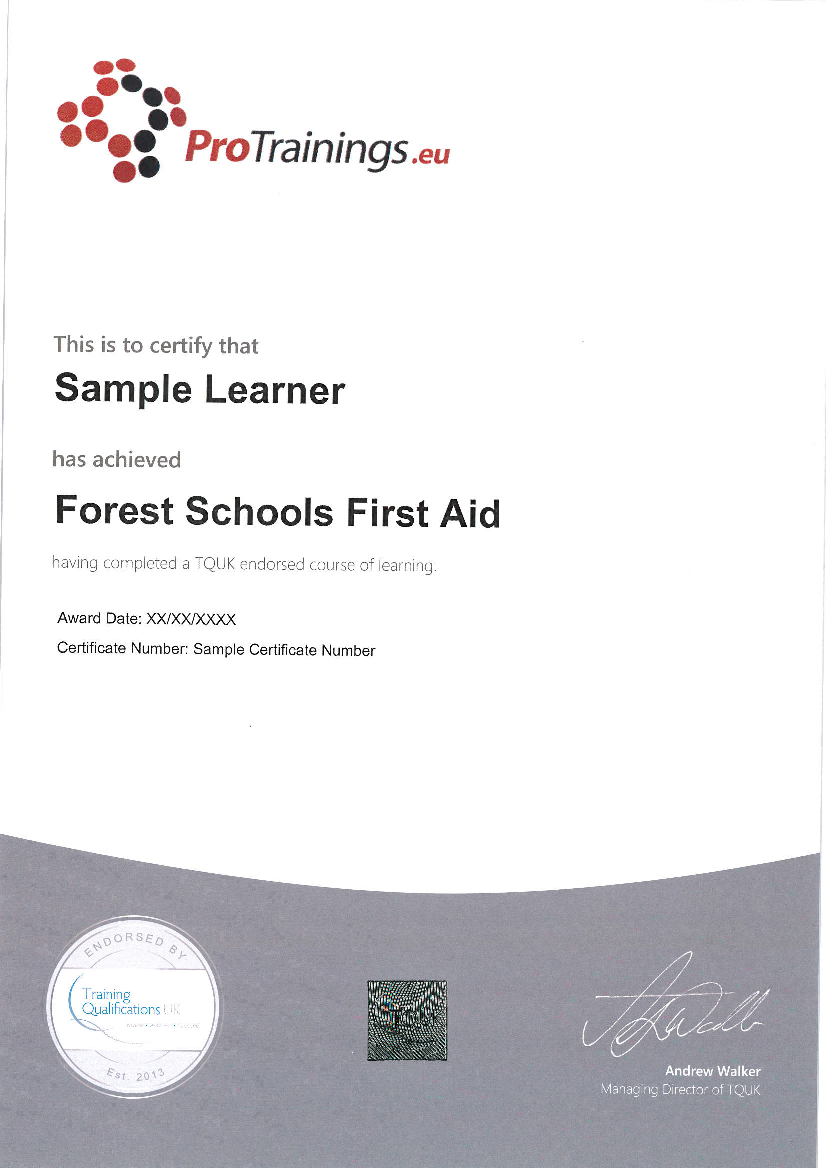 Endorsed Forrest School First Aid Certificate From Tquk