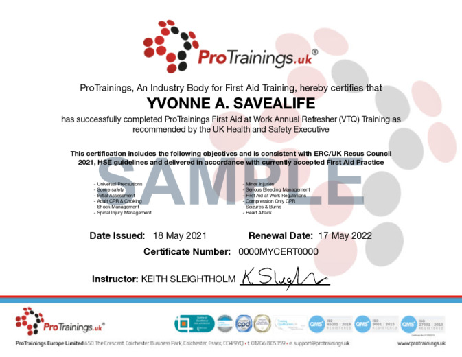 Sample First Aid at Work Annual Refresher (VTQ) Wall Certificate