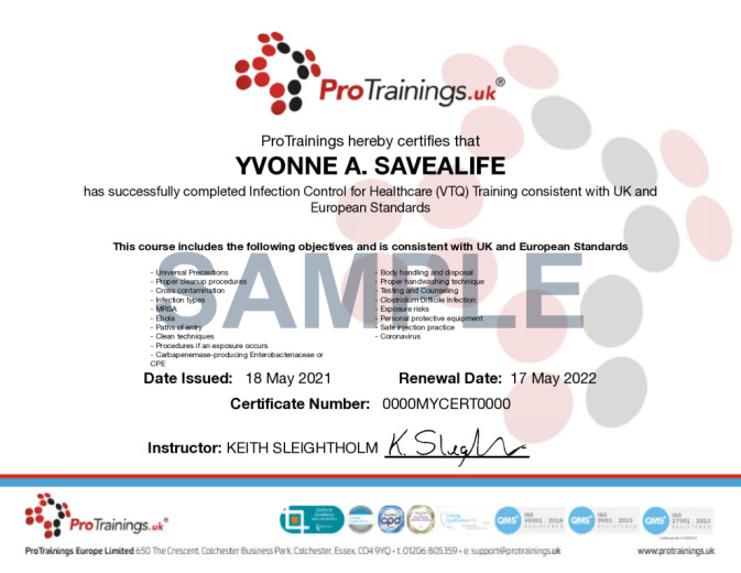 Sample Infection Control for Healthcare Level 2 (VTQ) Wall Certificate