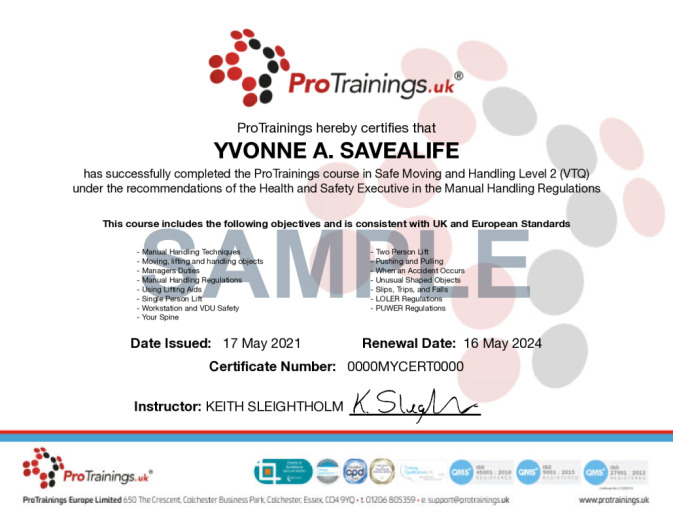 Sample Safe Moving and Handling Level 2 (VTQ) Wall Certificate