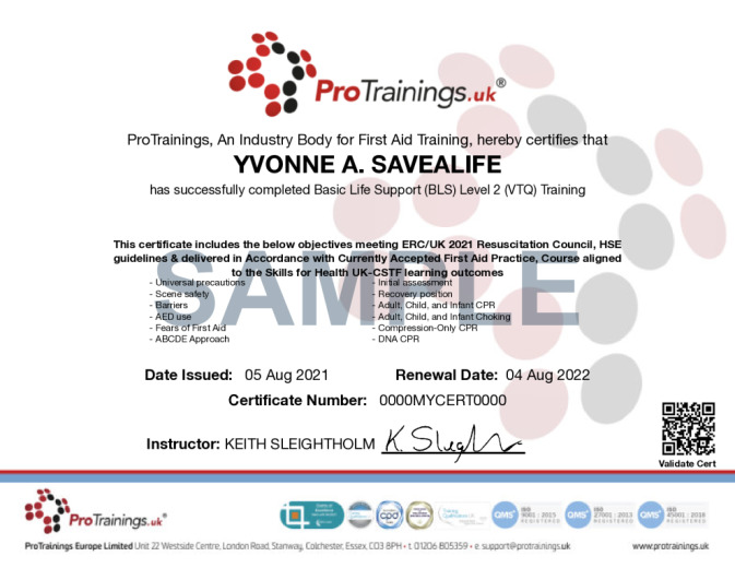 Sample Basic Life Support (BLS) Level 2 (VTQ) Wall Certificate