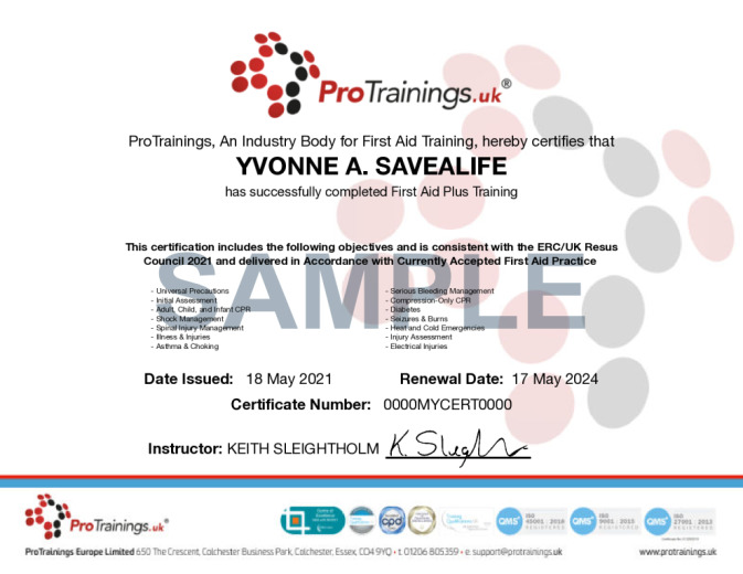 Sample First Aid Plus Wall Certificate