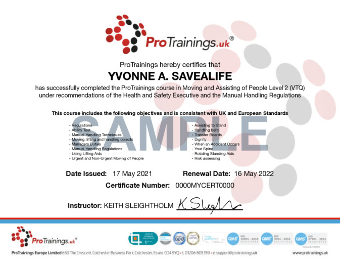 Sample Moving and Assisting of People Level 2 (VTQ) Wall Certificate