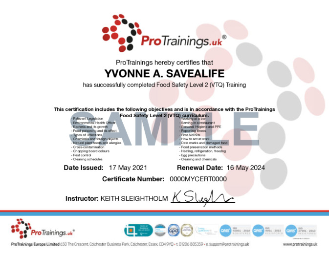 Sample Food Safety Level 2 (VTQ) Wall Certificate