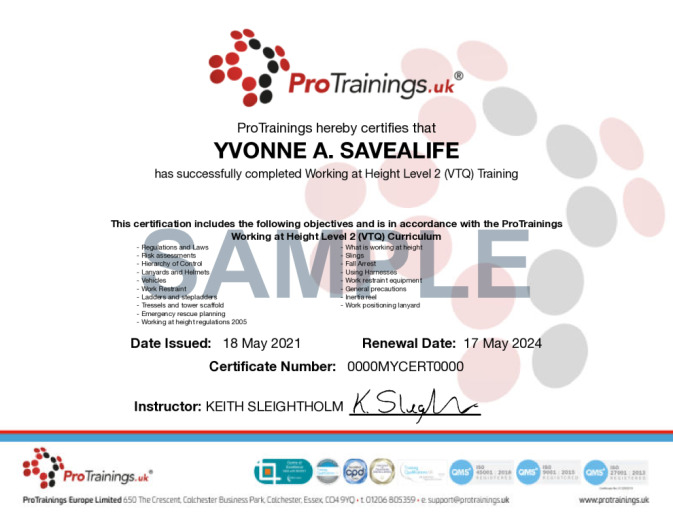 Sample Working at Height Level 2 (VTQ) Online Certificate