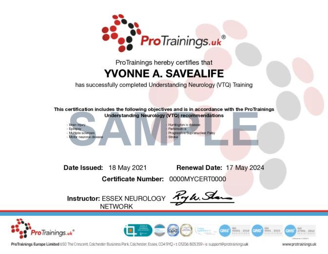 Sample Understanding Neurology Wall Certificate