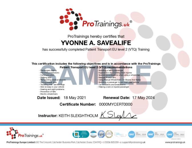 Sample Patient Transport EU Level 2 (VTQ) Online Certificate