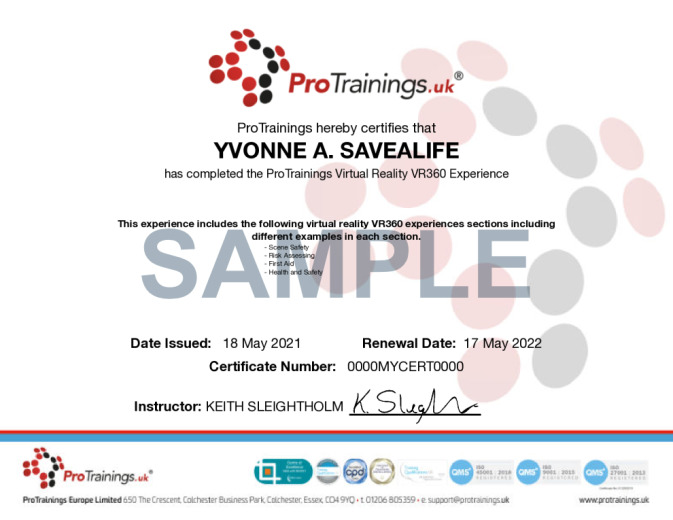 Sample ProTrainings Virtual Reality VR360 Online Certificate