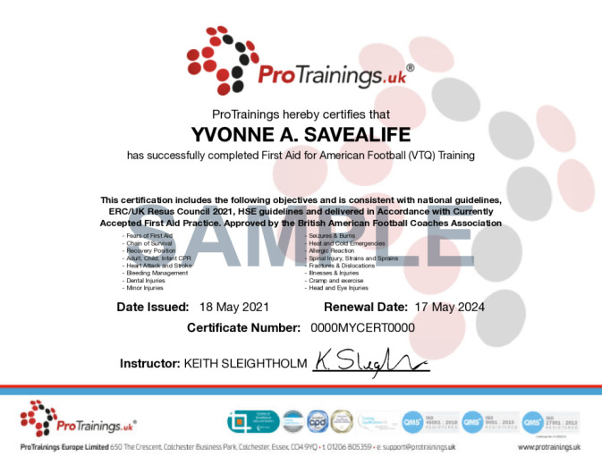 Sample Approved by the British American Football Coaches Association Wall Certificate