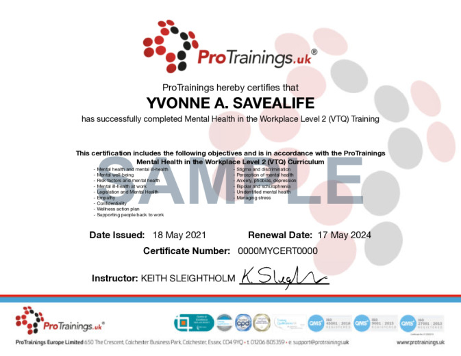 Sample Mental Health in the Workplace Level 2 (VTQ) Wall Certificate