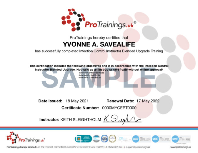 Sample Infection Control Instructor Blended Upgrade Online Certificate