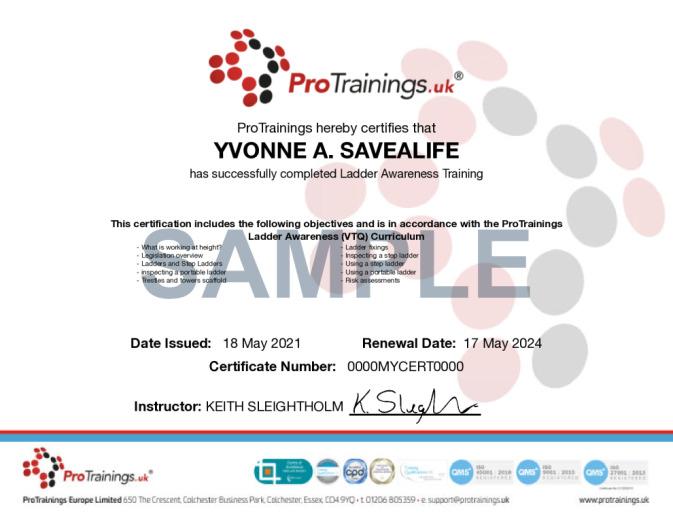 Sample Ladder Awareness (VTQ) Wall Certificate