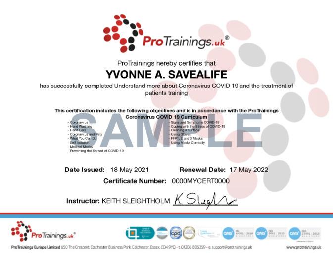 Sample Coronavirus COVID-19 Level 2 (VTQ) Online Certificate