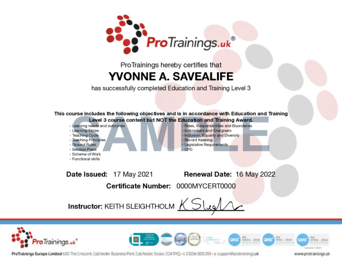 Sample Education and Training Prep Course Online Certificate
