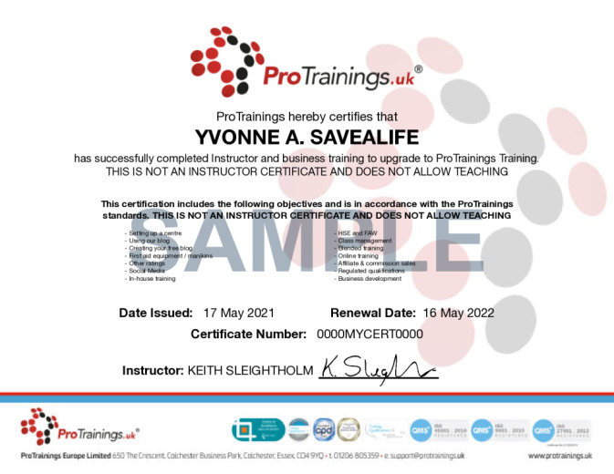 Sample ProTrainings Centre Online Certificate
