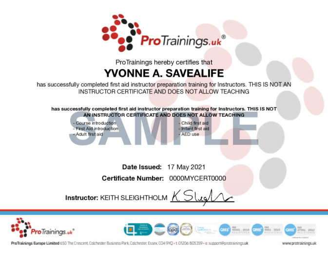 Sample Instructor Preparation Blended Part One Wall Certificate