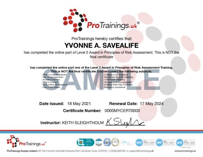 Sample TQUK Level 2 Award in Risk Assessment (RQF) Wall Certificate
