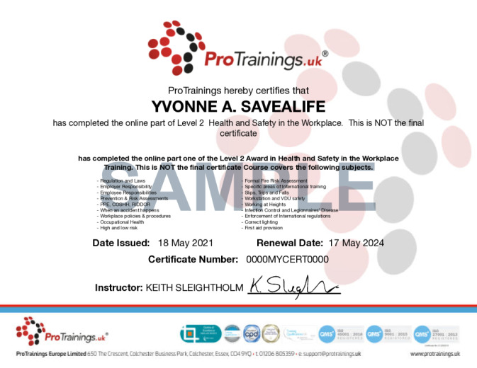 Sample TQUK Level 2 Award in Health and Safety in the Workplace (RQF) Wall Certificate