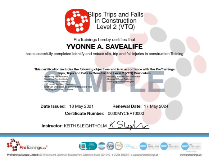 Sample Slips, Trips and Falls in Construction Level 2 (VTQ) Online Certificate