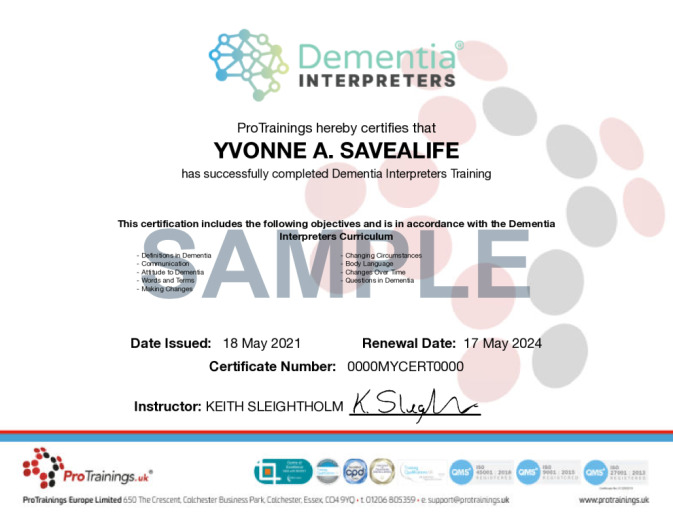 Sample Dementia Interpreter® Online Certificate