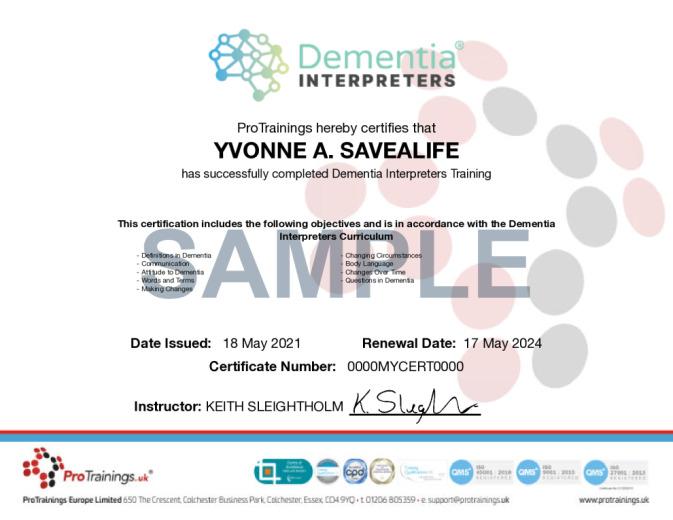 Sample Dementia Interpreter® Wall Certificate