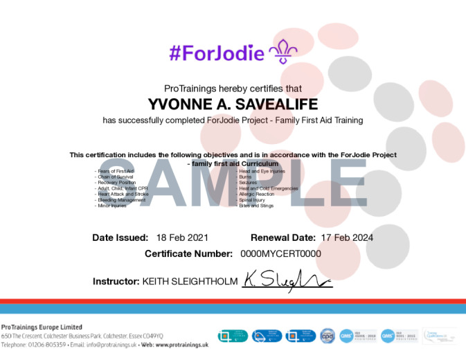 Sample ForJodie Project - Family First Aid Online Certificate