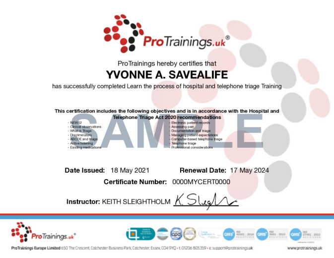 Sample Hospital and Telephone Triage Online Certificate
