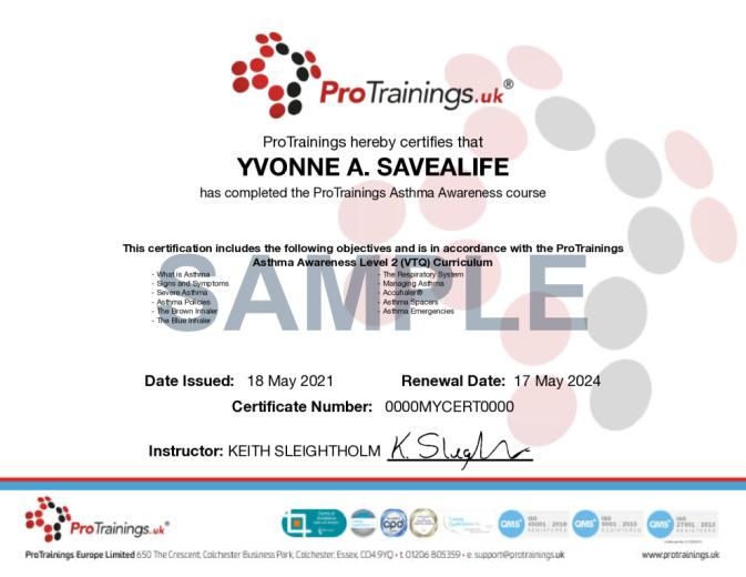 Sample Asthma Awareness Level 2 (VTQ) Online Certificate