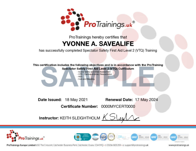 Sample Spectator Safety First Aid Level 2 (VTQ) Wall Certificate