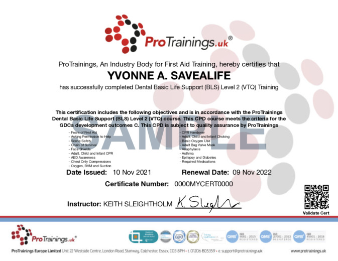 Sample Dentist CPR/BLS Wall Certificate