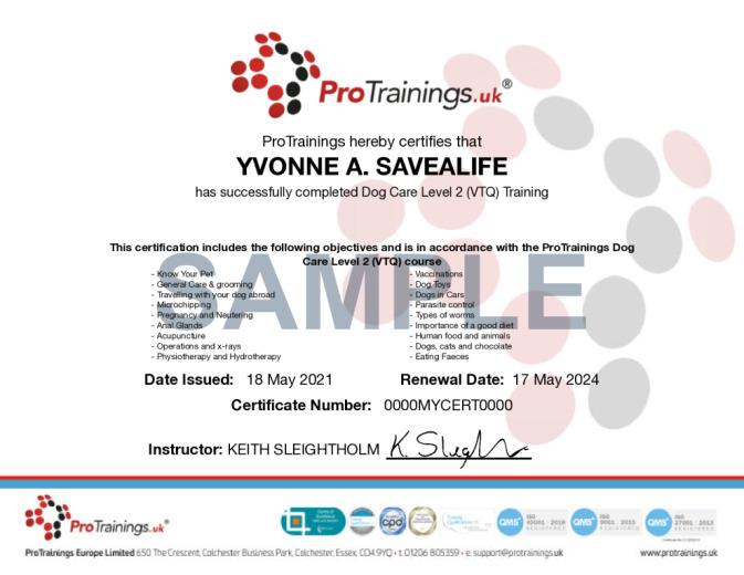 Sample Dog Care Level 2 (VTQ) Online Certificate
