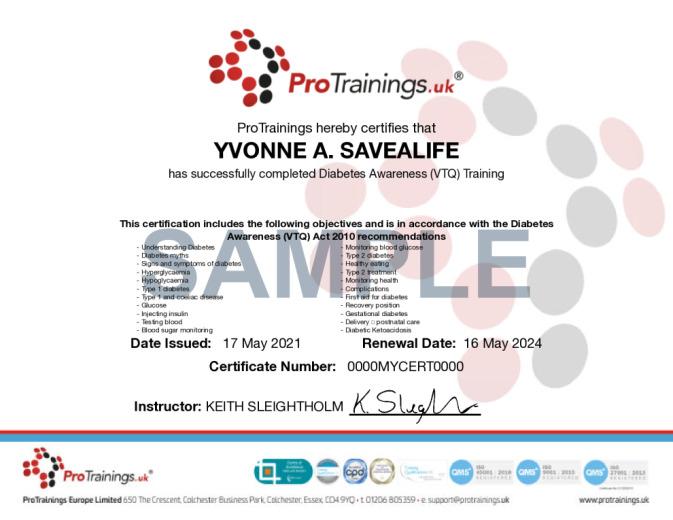 Sample Diabetes Awareness (VTQ) Online Certificate