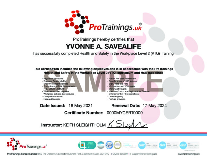 Sample Health and Safety Awareness Level 2 Wall Certificate