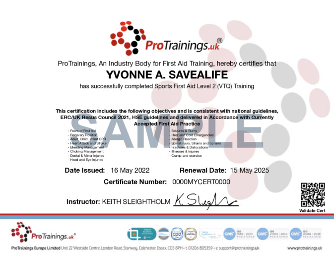 Sample Sports First Aid Level 2 (VTQ) Wall Certificate
